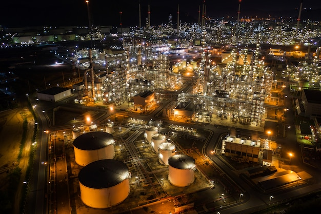 Aerial view oil storage tank with oil refinery factory industrial.