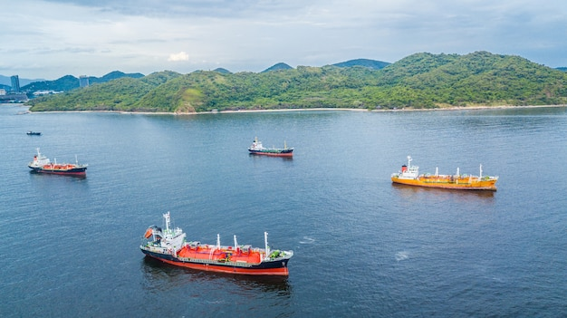 Aerial view oil tanker ship and gas tanker ship loading in port.