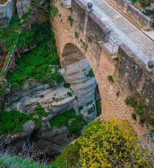 Aerial view of the old bridge of ronda