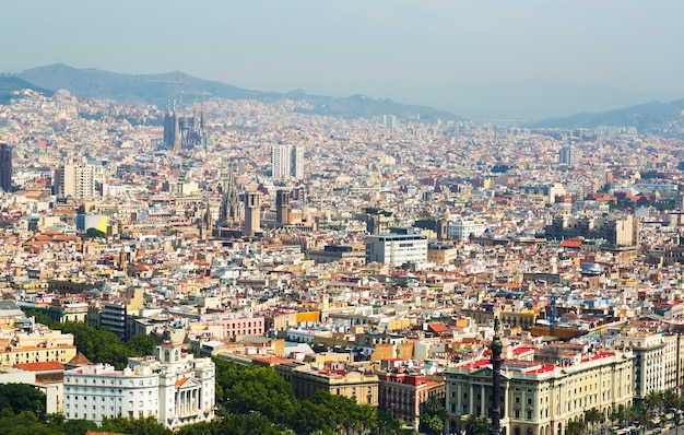 Aerial view  of old districts in barcelona