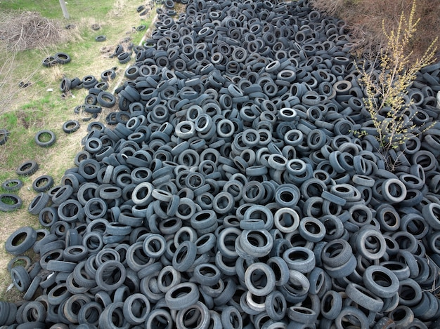 Aerial view of old tires