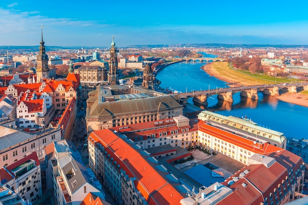 Aerial view of old town and elbe, dresden, germany