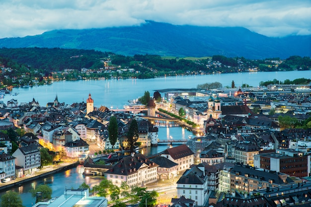 Aerial view of old town of lucerne, wooden chapel bridge and lake lucerne, switzerland