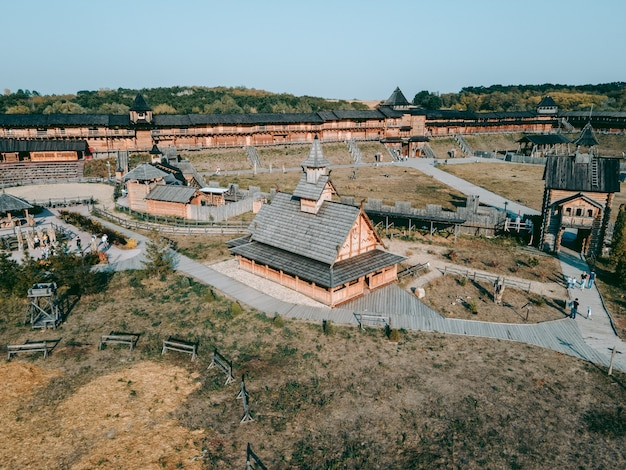 Aerial view of the old wooden medieval christian church