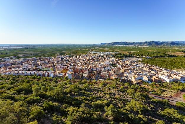 Вид с воздуха в солнечный день на город, окруженный полями апельсиновых деревьев.