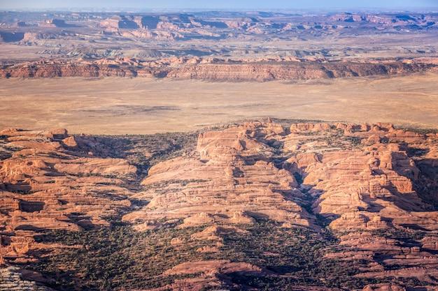 ユタ州アーチーズ国立公園の空撮