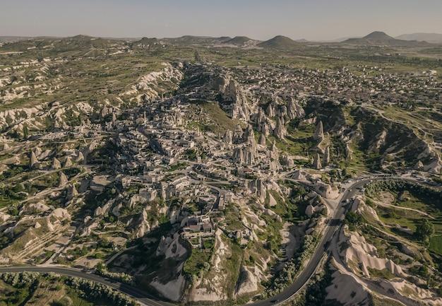 Aerial view of ortahisar in cappadocia, turkey