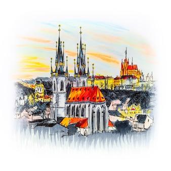 Вид с воздуха на церковь богоматери перед тыном, старым городом и пражским градом на закате в праге, чешская республика. маркеры с изображением