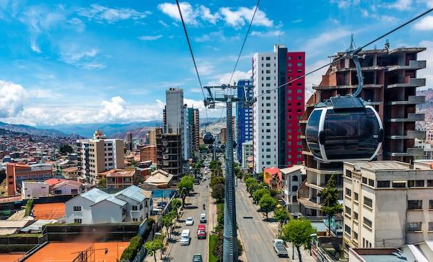 Вид с воздуха на фуникулере в ла-пас, боливия