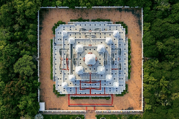 Aerial view of pagoda watasokaram temple in thailand