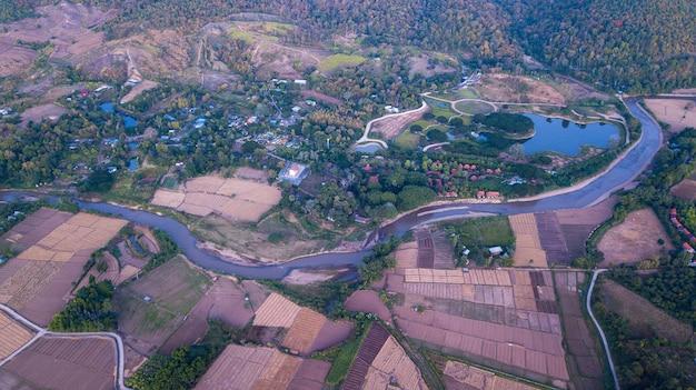 パイシティとパイ川の空撮