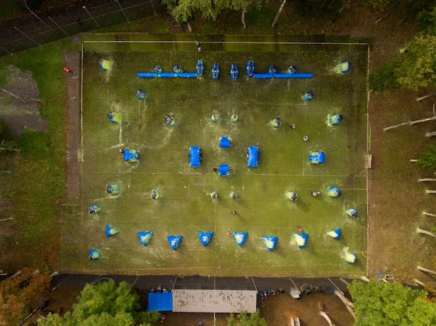Aerial view of paintball court in the city public park.