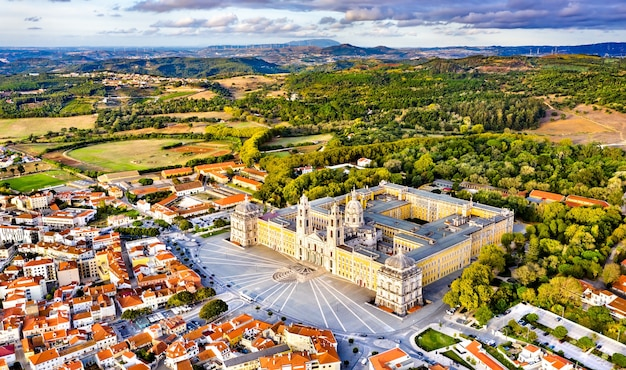 Aerial view of the palace of mafra. unesco world heritage in portugal