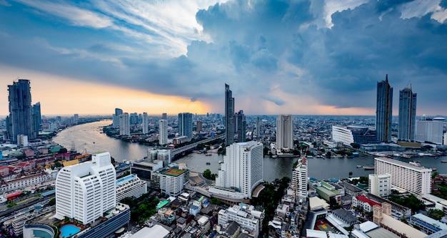 Aerial view panoramic of chao phraya river bangkok city sky and clouds  of thailand