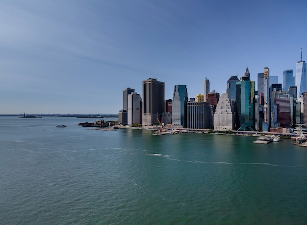 Aerial view of the panoramic landscape large spectacular buildings in new york city ny usa