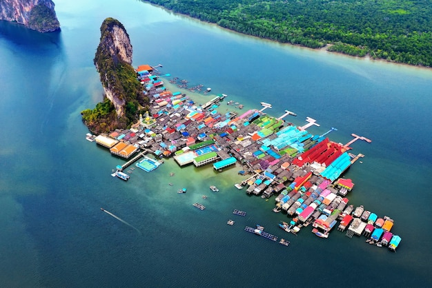 Aerial view of panyee island in phang nga, thailand.