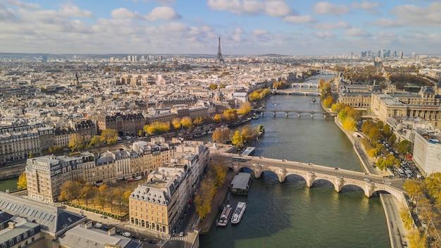 Aerial view of paris in autumn time