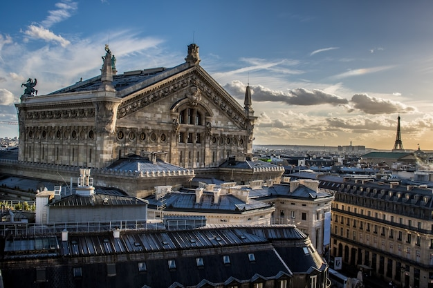 Aerial view of paris from galleries lafayette terrace