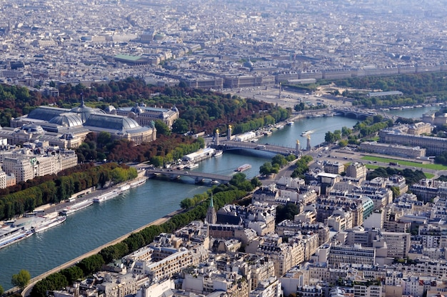 Aerial view of paris with river seine