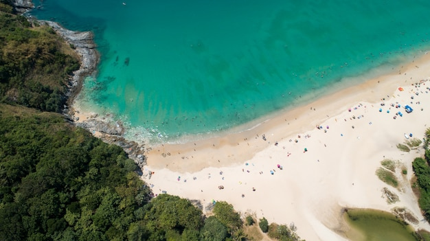 Aerial view patong sandy beach at phuket thailand by drone