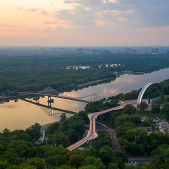 Aerial view. the pedestrian bridge in kiev