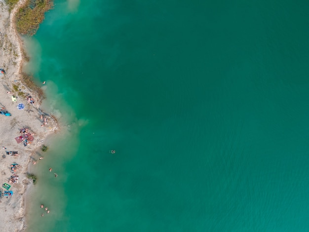 Aerial view of people swimming in blue azure water sunbathing resting at sandy beach copy space directly above