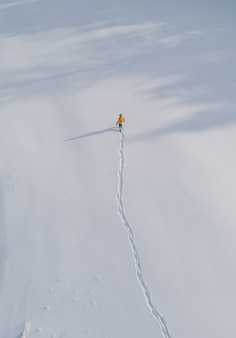 Aerial view of a person walking in a field covered in snow
