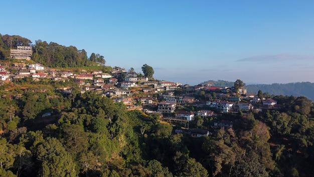 Aerial view of phahee village, chiang rai, thailand