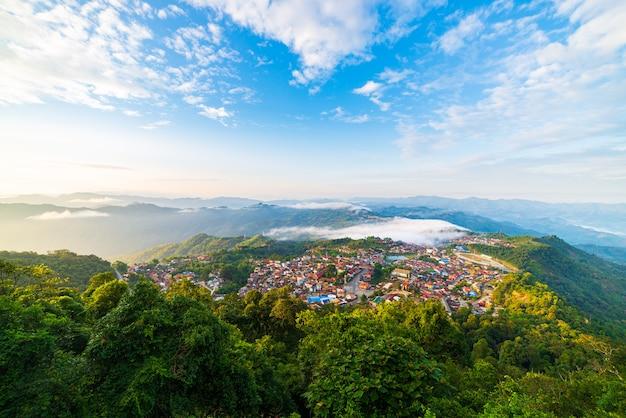 Aerial view of phongsali, north laos near china. yunnan style town on scenic mountain ridge. travel destination for akha villages.