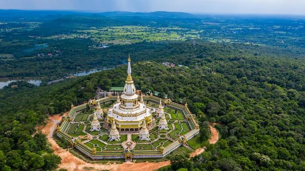 Aerial view phra maha chedi chai mongkol or phanamtip temple, roi et, thailand.