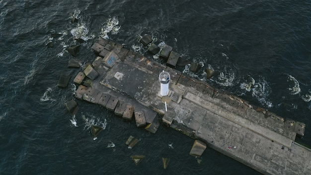 Aerial view of a pier