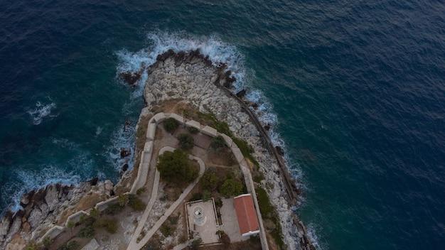 Aerial view pigeon island castle of kusadasi turkey