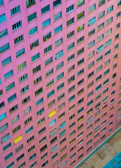 Aerial view of a pink building in so paulo city downtown.