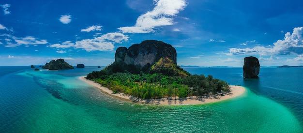 Aerial view of poda island in krabi , thailand.