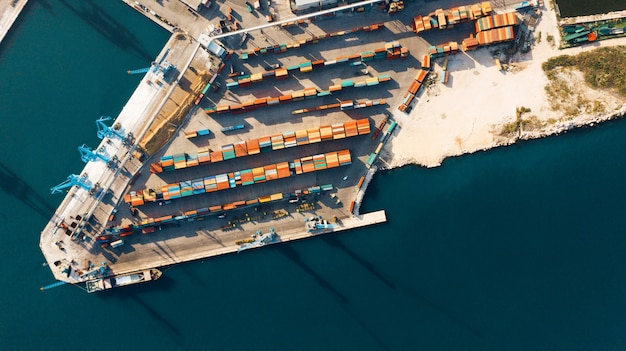 Aerial view of port for import and export and logistics
