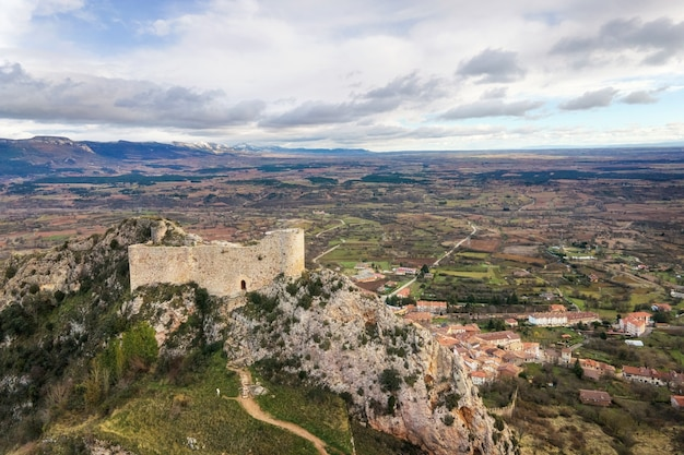 Aerial view of poza de la sal castle and village in burgos, castile and leon, spain .