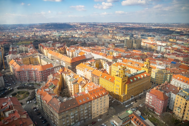 Aerial view of prague from zizkov television tower in sunny day in prague, czech republic