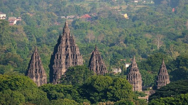 Aerial view of prambanan temple at the morning