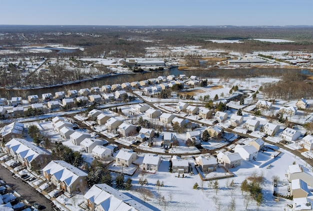 Aerial view over the private town residential houses gardens