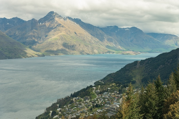 Aerial view of queenstown in south island, new zealand. cityscape and landscape of queenstown with lake wakatipu from top, new zealand, south island.