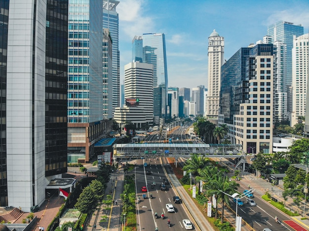 Aerial view of queit traffic on jakarta