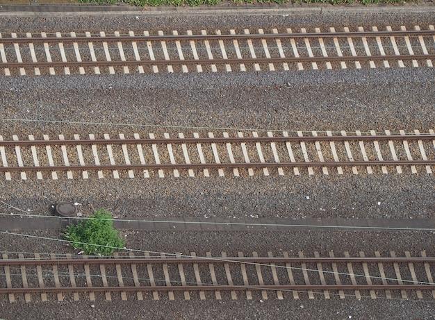 Aerial view of railway (railroad) line tracks