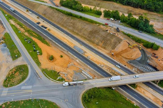 Aerial view of reconstruction bridge add new line in highway bridge over 85 interchange freeway