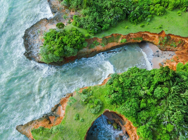 Aerial view of the reef on the beach. the view of the sea of bengkulu indonesia