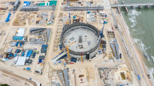 Aerial view refinery oil tanks construction site