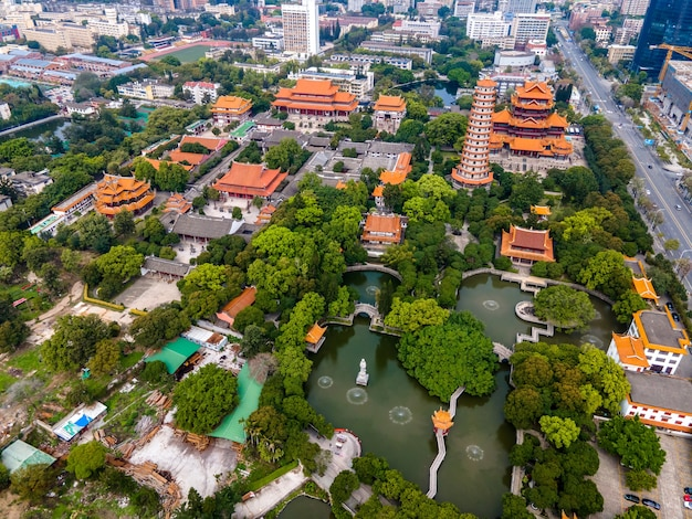 Aerial view of religious temples in fuzhou, china