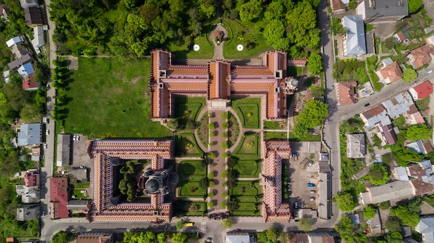 Aerial view of residence of bukovinian and dalmatian metropolitans. chernivtsi national university. chernivtsi touristic destination of western ukraine.