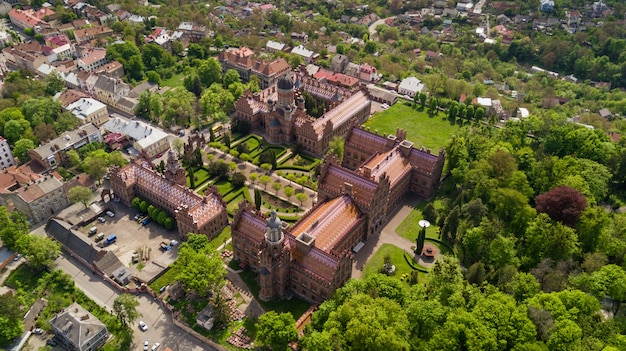 Aerial view of residence of bukovinian and dalmatian metropolitans. chernivtsi national university. chernivtsi touristic destination of western ukraine.