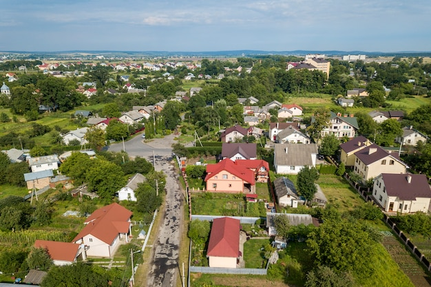 Aerial view of a residential area in a town with private houses.