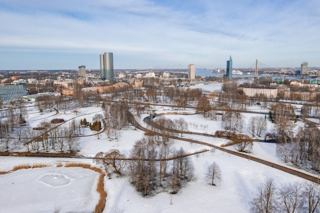 Aerial view of the riga city in latvia in winter